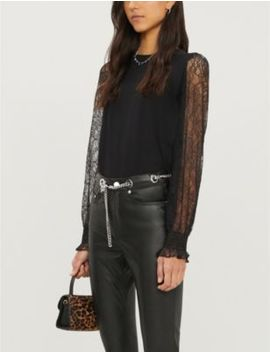 Semi Sheer Cotton And Lace T Shirt by The Kooples