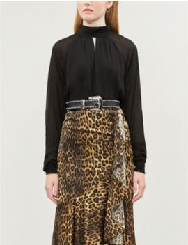 High Neck Crepe Blouse by The Kooples