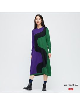 women-marimekko-merino-blend-printed-long-sleeved-dress by uniqlo
