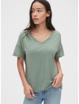 Vintage Wash Slub V Neck T Shirt by Gap