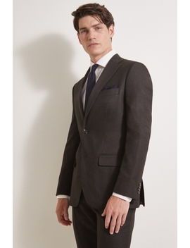Moss 1851 Tailored Fit Brown Grid Check Suit by Moss Bros