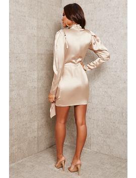 Champagne Satin High Neck Keyhole Drape Mini Dress by I Saw It First