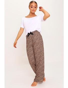 Brown Leopard Print Off The Shoulder Pyjama Set by I Saw It First