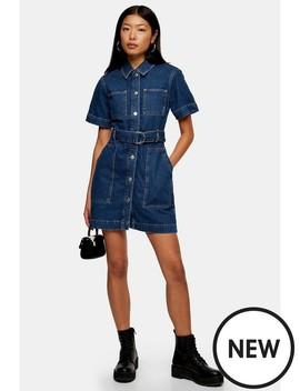 Topshop Denim Patch Pocket Shirt Dress   Blue by Topshop