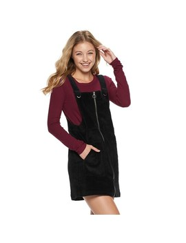 Juniors' So Zip Front Cord Pinafore by So