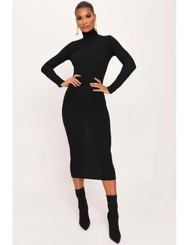 Black Roll Neck Long Sleeve Ribbed Midi Dress by I Saw It First