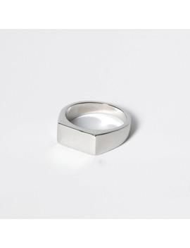 Silver Colour Rectangle Signet Ring by River Island