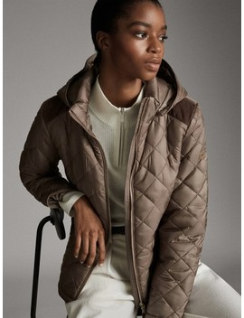 Quilted Jacket With Removable Hood by Massimo Dutti