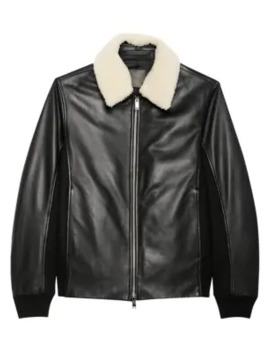 Casse Heavytyler Shearling Collar Leather Bomber by Theory