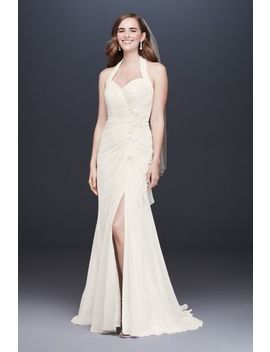 Halter Pleated Sheath Wedding Dress With Applique by David's Bridal Collection