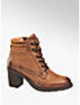 Brown Leather Heeled Ankle Boots by 5th Avenue