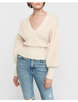 High Banded Ribbed V Neck Sweater by Express