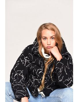 **Black Sketch Printed Zip Through Puffer Jacket By Glamorous by Topshop