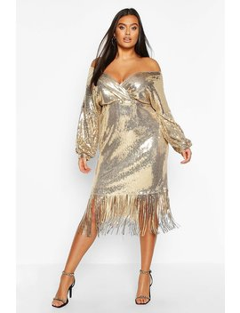 Plus Sequin Off The Shoulder Wrap Midi Dress by Boohoo