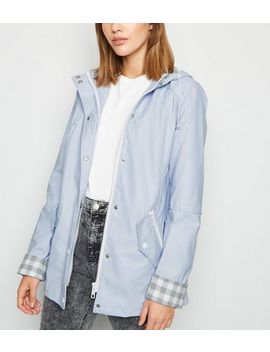Urban Bliss Pale Blue Check Lined Mac by New Look
