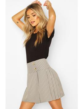 Tonal Check Pleated Kilt Mini Skirt by Boohoo