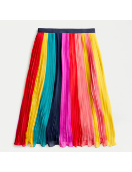 Petite Sunburst Pleated Midi Skirt In Rainbow Colorblock by J.Crew