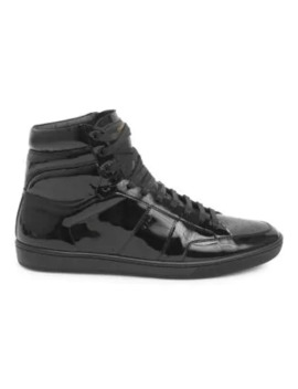 Patent Leather High Top Sneakers by Saint Laurent