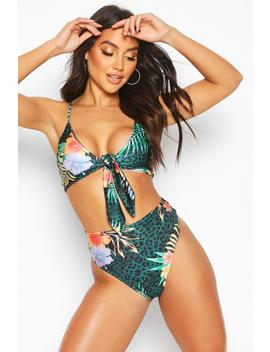 Tropical Leopard Tie Front High Waist Bikini by Boohoo