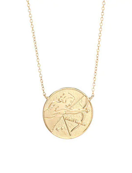 Sylas 14 K Gold Vermeil Sagittarius Medallion Necklace by Jennifer Zeuner Jewelry