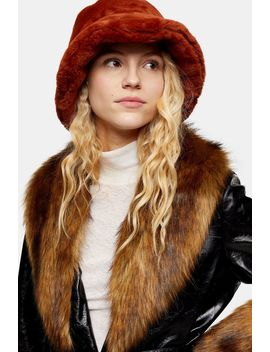Ginger Faux Fur Bucket Hat by Topshop