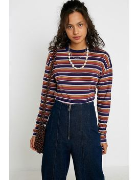 Uo Stripe Cropped Long Sleeve T Shirt by Urban Outfitters