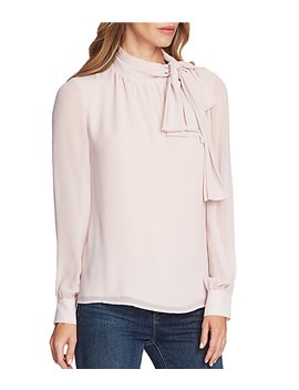 Long Sleeve Chiffon Bow Neck Button Detail Blouse by Vince Camuto