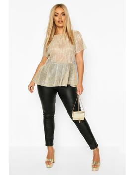 Plus Plisse Sleeve Smock Top by Boohoo