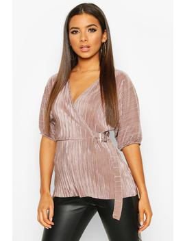 Pleated Wrap Front Tie Waist Top by Boohoo