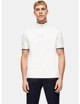 Topman Premium White Zip Neck T Shirt by Topman