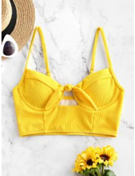Popular Salezaful Ribbed Knotted Underwire Longline Bikini Top   Yellow S by Zaful