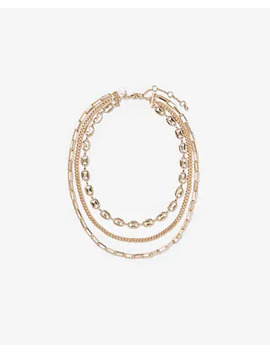 Three Row Layered Chain Necklace by Express