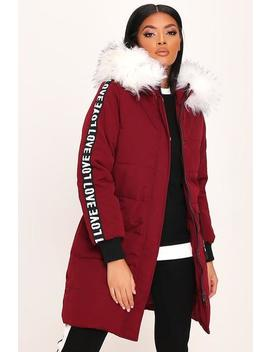 Burgundy Slogan Tape Sleeve Long Padded Coat by I Saw It First