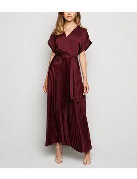 Tall Burgundy Satin Pleated Midi Dress by New Look