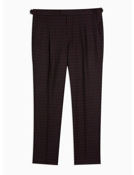 Burgundy And Black Houndstooth Tapered Pants by Topman