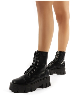 Keeper Black Pu Chunky Track Sole Lace Up Ankle Boots by Public Desire