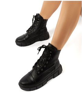 Flyby Black Pu Chunky Sole Lace Up Ankle Boots by Public Desire