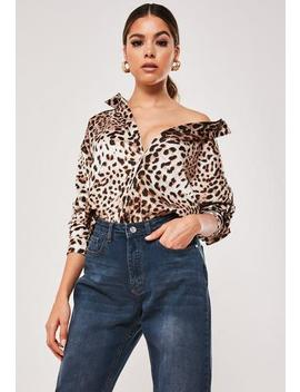 Brown Leopard Print Extreme Oversized Satin Shirt by Missguided