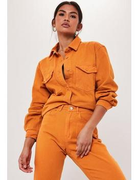 Orange Co Ord Oversized Denim Shirt by Missguided