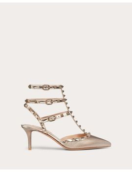 Rockstud  Metallic Grainy Calfskin Leather Ankle Strap Pump 65 Mm by Valentino Garavani