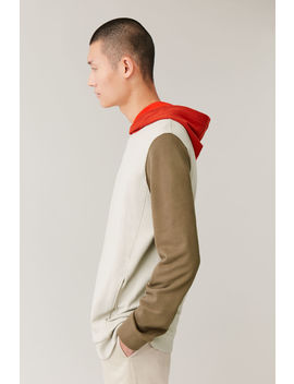 Colour Block Cotton Hoodie by Cos