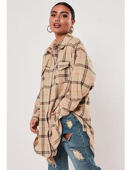 Cream Brushed Check Oversized Shirt by Missguided