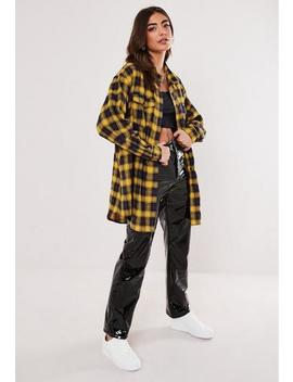 Yellow Brushed Check Oversized Shirt by Missguided