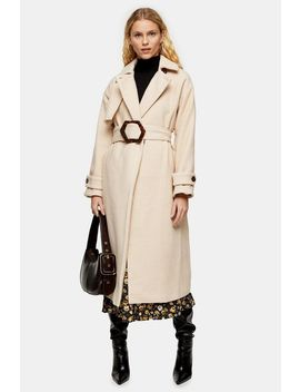 Cream Twill Belted Coat by Topshop