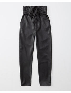 Ultra High Rise Faux Leather Paperbag Pants by Abercrombie & Fitch