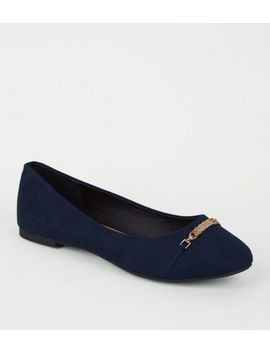 Navy Suedette Metal Bar Ballet Pumps by New Look