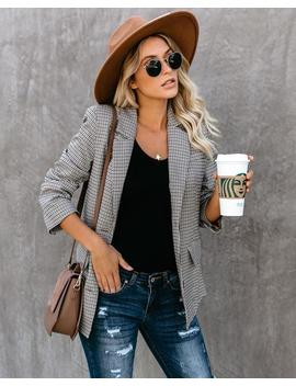 September To Remember Pocketed Plaid Blazer by Vici