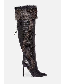 Sheryl Faux Fur Stiletto Boot by Justfab