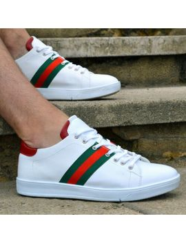 Mens Casual Boys Smart Summer White Trainers Black Faux Leather Sneaker by Ebay Seller