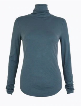 Ribbed Turtle Neck Long Sleeve Top by Marks & Spencer